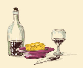 Bottle of wine, glass, plate with cheese and knife. Kitchen item