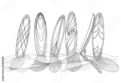 Surfboards in sand sketch - 67466050