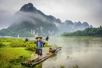 Cormorant Fisherman on the Li River, China