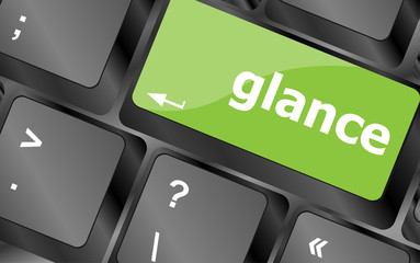 glance word on keyboard key, notebook computer button