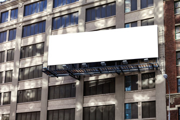 Big, horizontal, billboard on the building wall.