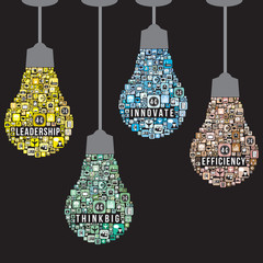 Light bulb design from icons infographics, vector format