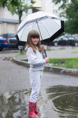 girl under white umbrella