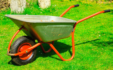 Gardening. Garden metal wheelbarrow.