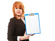 Business woman holds clipboard with empty blank. Isolated
