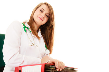 Paperwork. Smiling doctor woman with documents