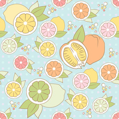 vector seamless pattern with citrus