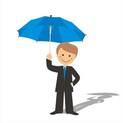 Hombre con un paraguas sin fondo