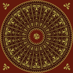 vector circle lace pattern of gold embroidery on a red backgroun