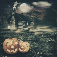 spooky place, abstract halloween backgrounds with jack-o-lantern