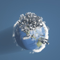 City Earth with Clouds