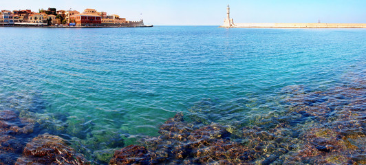 panorama with light house in Chania, Crete (Greece)