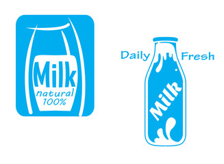 Fresh milk emblems and symbols