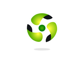green circle movement abstract vector logo