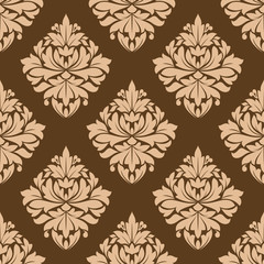 Floral seamless brown arabesque pattern