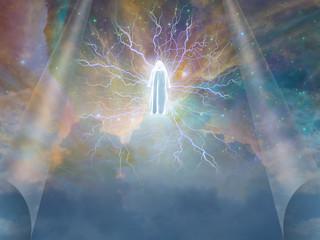 Figure radiates electrity in heavens