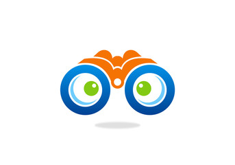 Binocular spy monitoring vector design logo