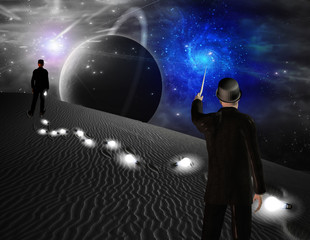 Man points toward galaxy in science fiction scene