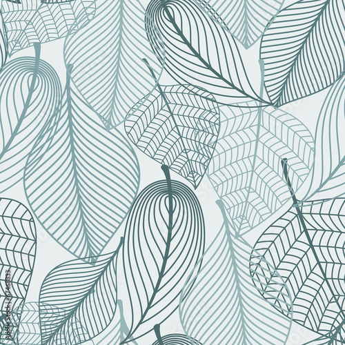 Delicate skeleton leaves seamless pattern © Vector Tradition