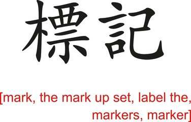 Chinese Sign for mark, the mark up set,label the,markers,marker
