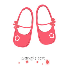 Pink baby shoes newborn greeting card vector