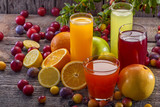 Fototapety Antioxidant juices of citrus, apple, plum and blackberry