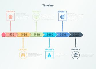 Retro timeline infographic. Trendy modern design template