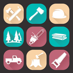 Lumberjack woodcutter icons set isolated on dark background