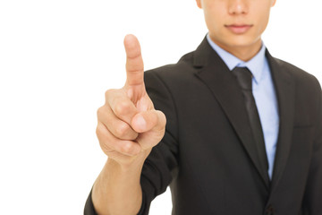 Young mixed race businessman pointing with index finger