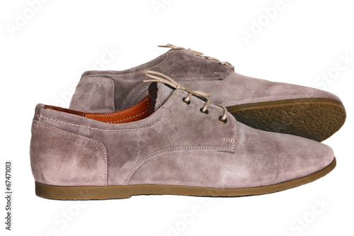 canvas print picture Suede men's shoes beige colors on a white background