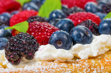 Fresh berry tart with cream