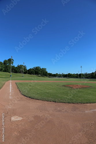 Foto op Canvas Stadion Ball Field and Blue Sky