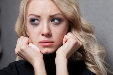 Upset crying woman. tragic expression.
