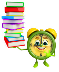 Table clock character with pile of books