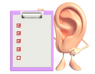 Ear character with notepad