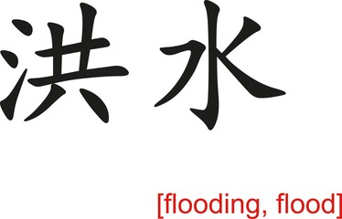 Chinese Sign for flooding, flood
