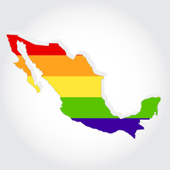 Rainbow flag in contour of Mexico