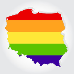 Rainbow flag in contour of Poland