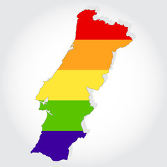 Rainbow flag in contour of Portugal