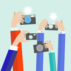 Modern flat photographers hands with devices take photo