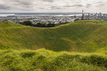 Mount Eden crater with Auckland panorama in background
