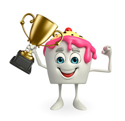 Ice Cream character with trophy