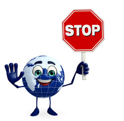 Earth Character with stop sign