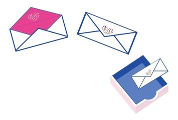 封筒とメール送信の郵便受け