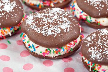 Homemade whoopie pie chocolate cakes