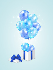 Blue balloons and gift box