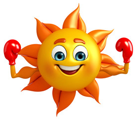 Sun Character With Boxing Gloves