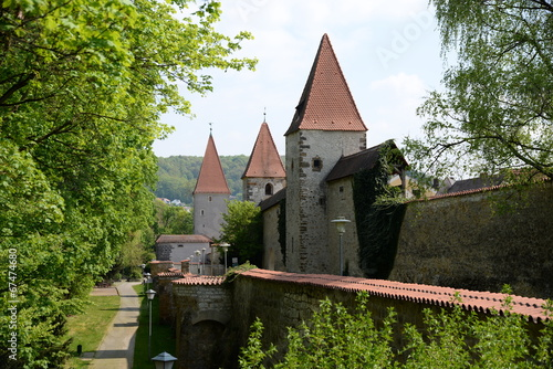 canvas print picture Stadtmauer in Amberg