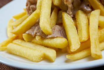 Slice pork  and french fries