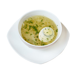 Chicken broth with dill and egg.